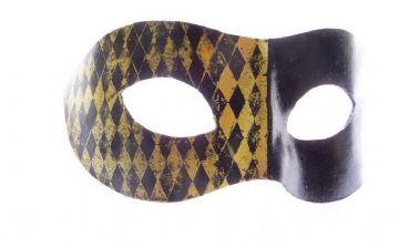 Genuine Handmade Unique  Black & Gold Harlequin Leather Mask 2